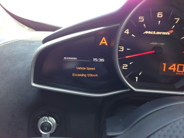 Speed Limit Warning Message - McLaren Life